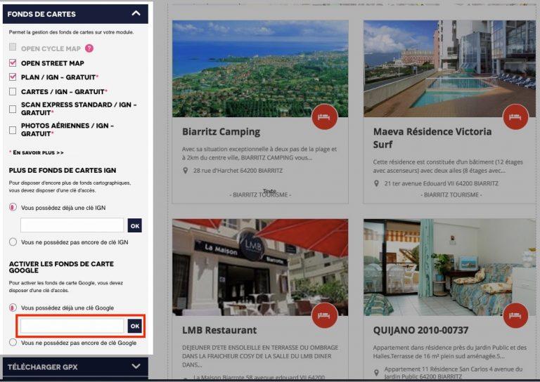 Clé google map modules tourisme
