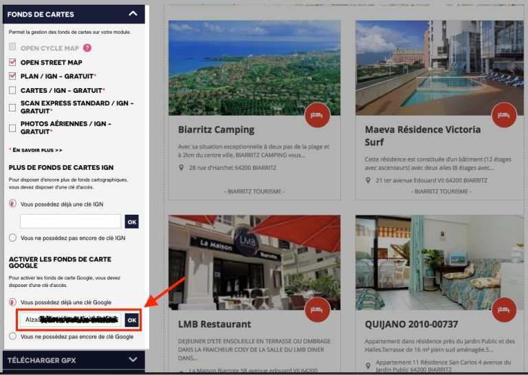 Saisir clé google map modules tourisme