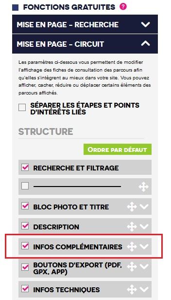 Image indiquant quel onglet dérouler dans le Menu pour acceder aux options des informations complémentaires